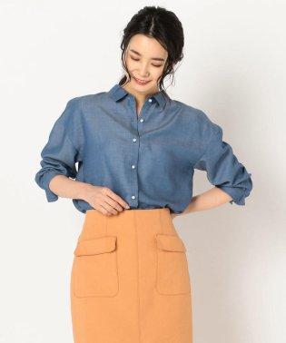 パール釦テンセルデニム裾2-WAYシャツ