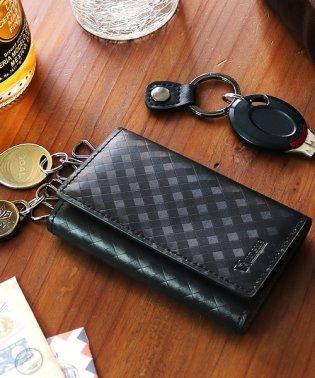 キーケース メンズ 革 スペインレザー 軽量 メッシュ 6連 キーカバー 黒 VACUA