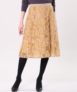 《大きいサイズ》フラワージャガードフレアスカート