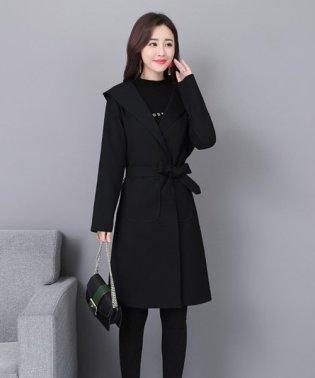 フード付きトレンチコート 韓国 ファッション レディース シンプル かわいい オシャレ あったか【A/W】【ra-2074】