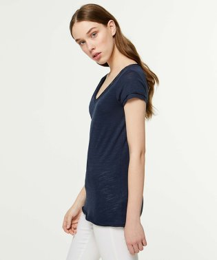 スラブVネックフレンチ半袖Tシャツ・カットソー