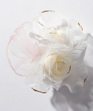 【入学式・卒業式・セレモニー・七五三・結婚式】オーガンジーのフラワーモチーフコサージュ