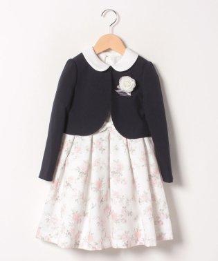 花柄ワンピース+グログランタックジャケットセット