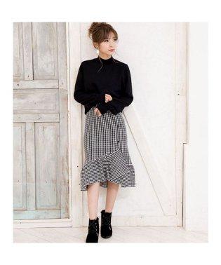 [ボトムス スカート]スカートが主役のコーデを 裾フリルアシンメトリースカート[181241]