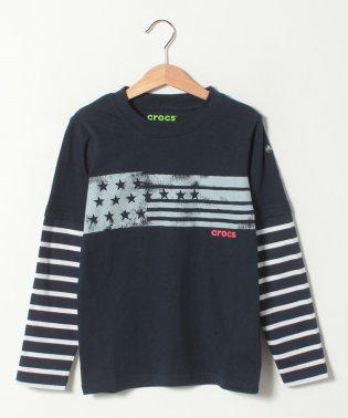 CROCS重ね着風デザイン長袖Tシャツ