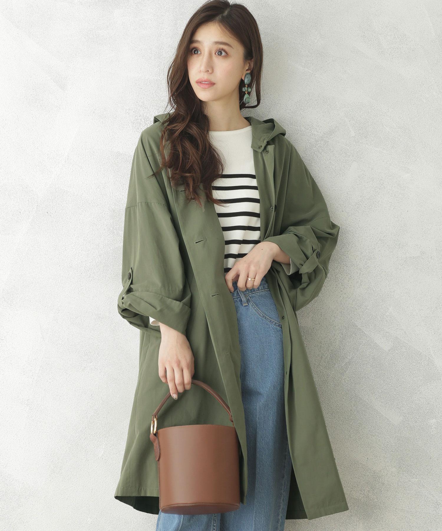 【WEB限定】2wayノーカラー&フードスプリングコート