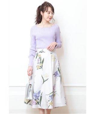 大花プリントフレアスカート