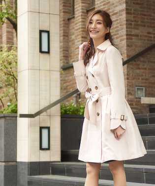 【花粉ブロック&撥水加工】ニュアンス ダブルタックトレンチコート