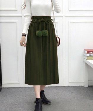 ロングスカート レディース プリーツスカート ゴムウエスト リボン スカート 可愛い