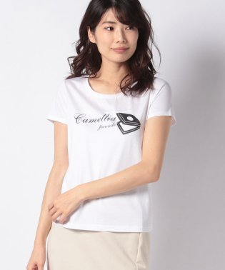 【洗える】コットンジャージプリント ビジューTシャツ