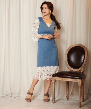 デニムレースワンピース[DRESS/ドレス]