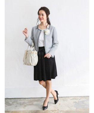 ミックスツイード3ピーススーツ(ノーカラージャケット+ツイードタイトスカート+シフォンタックスカート)白黒