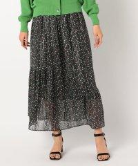 小花柄プリント裾切り替えロングスカート