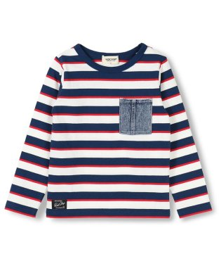 デニムポケットボーダー柄長袖Tシャツ(80~140cm)