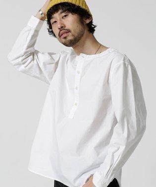 製品染めノーカラープルオーバーシャツ