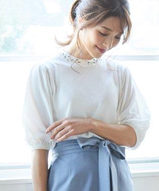 衿ビジュー付半袖プルオーバー