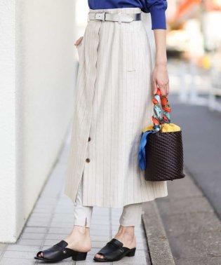 【洗える】ドライツイルストライプデザインミディスカート