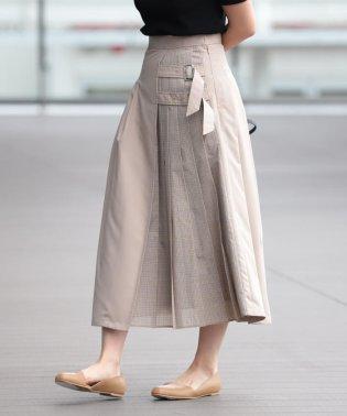 Ray BEAMS / チェック キリカエ ダブルベルト スカート