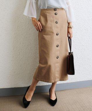 【E-11】ツイル タイトスカート 前ボタン ミモレ丈 ロングスカート