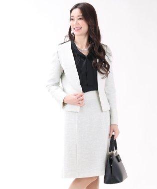 《卒業式 入園式 七五三 セレモニーシーン対応》カラーレスツイードジャケット&スカート2点セットスーツ