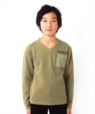 ポケットデザインVネック厚手長袖Tシャツ