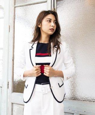 【TVドラマ着用】【LOVELESS】WOMEN リネンライクホワイトパイピングジャケット