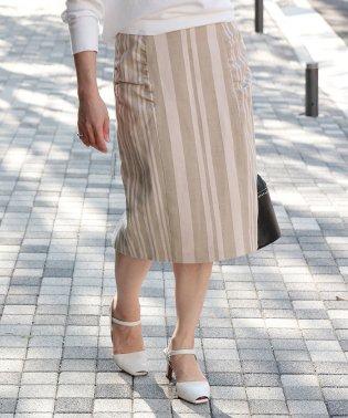 【TVドラマ着用】【ドラマ着用】ストライプコクーンタイトスカート