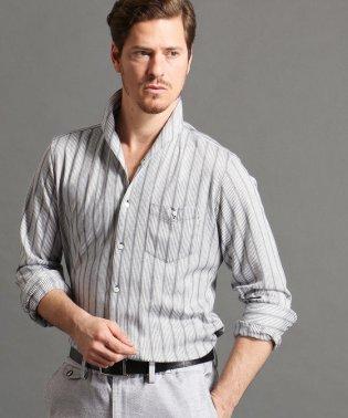 ストライプ柄イタリアンカラーシャツ