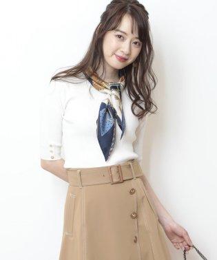 【5分袖】スカーフ付リブニット