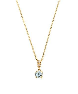 K18YG ダイヤモンド0.010 CT アクアマリンネックレス