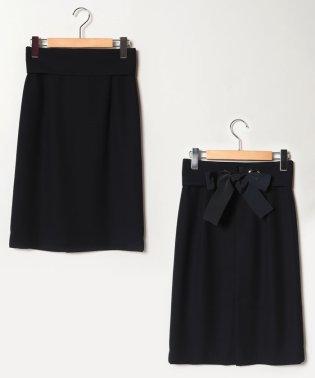バックサテンジョーゼット/リボン付きタイトスカート
