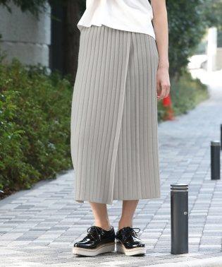 【WEB限定】リブニット巻きスカート
