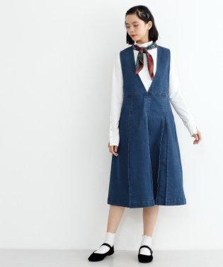 ボックスタックストレッチデニムジャンパースカート