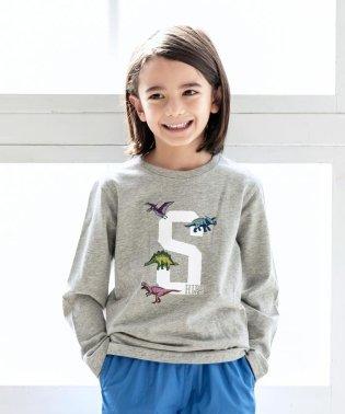 SHIPS KIDS:Sロゴ×恐竜 プリント 長袖 TEE(100~130cm)
