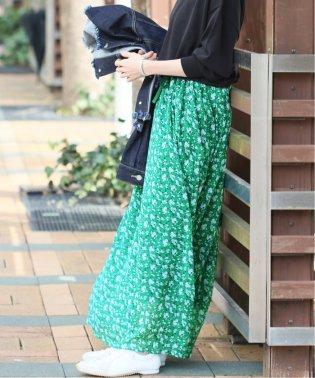 《WEB限定》JS+eフラワープリントギャザースカート◆