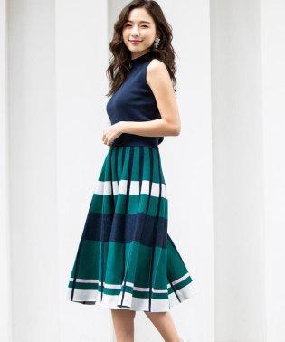 【SETアイテム】【手洗い可能】ノースリーブハイネックニット+ジャガードスカート