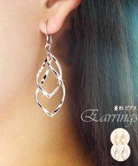 菱形 ピアス レディース 多層 イアリング ぶらさがりアクセサリー 耳飾り 2連ピアス