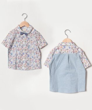 DapperDオーガニック蝶タイ付きシャツ