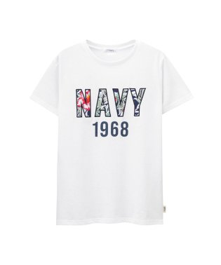 Navy NAVYロゴ花柄ワッペンTシャツ EJ193-WC157