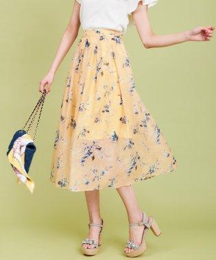 【sweet4月号掲載】スパンオーガンジー花柄ロングスカート
