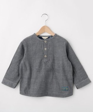 【100-150cm】Wガーゼヘンリーシャツ