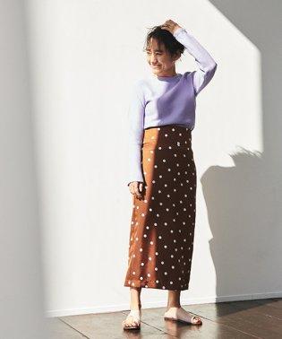 【別注】金子綾xMACPHEE ポリエステルドットプリント ミディタイトスカート