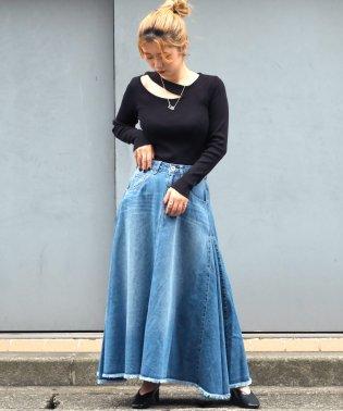 サイドドレープフレア9.5ozデニムスカート