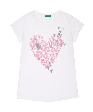 ハート&フラワープリント半袖Tシャツ・カットソー