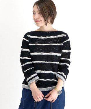 透かし柄編みボートネックプルオーバー