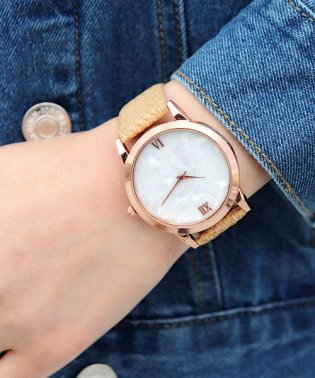 【シェル調文字盤】 シンプルアナログウォッチ / レディース腕時計