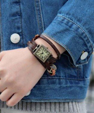 アンティーク スエードブレスレット アナログウォッチ / レディース腕時計