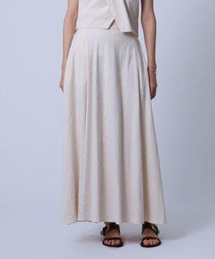 【WEB限定カラー】【洗える】リネン混ストレッチスマキシスカート