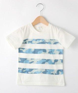 【90cm~150cm】迷彩ボーダープリントTシャツ