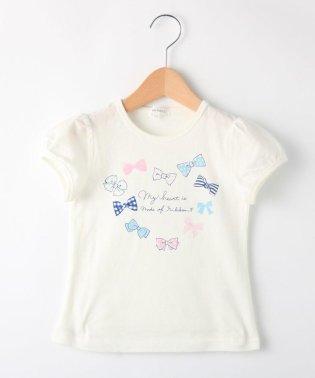 【90cm~150cm】ハートリボンプリントTシャツ